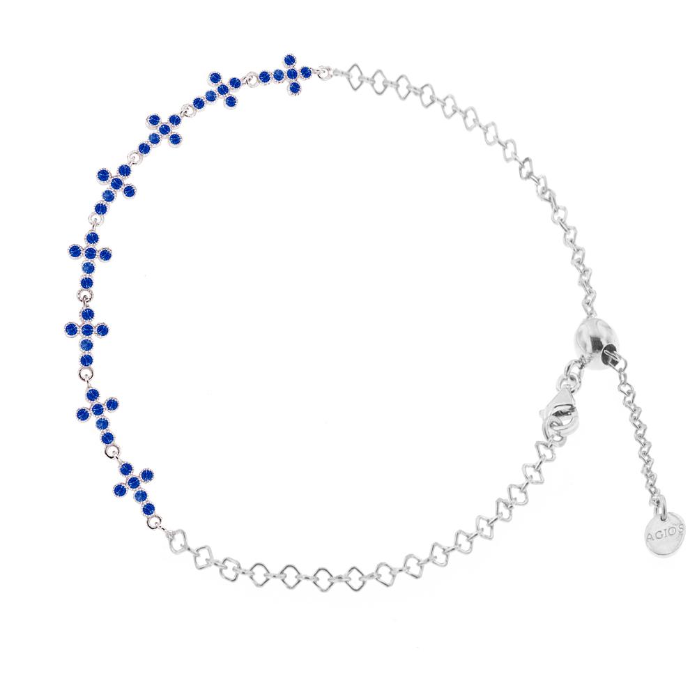 Bracciale religioso in argento con Croci e Zirconi blu
