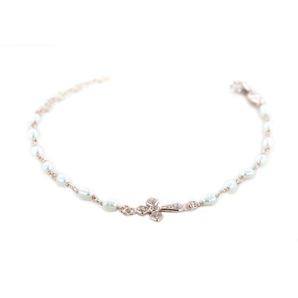 Bracciale religioso in argento con perle e Croce e Zirconi bianchi