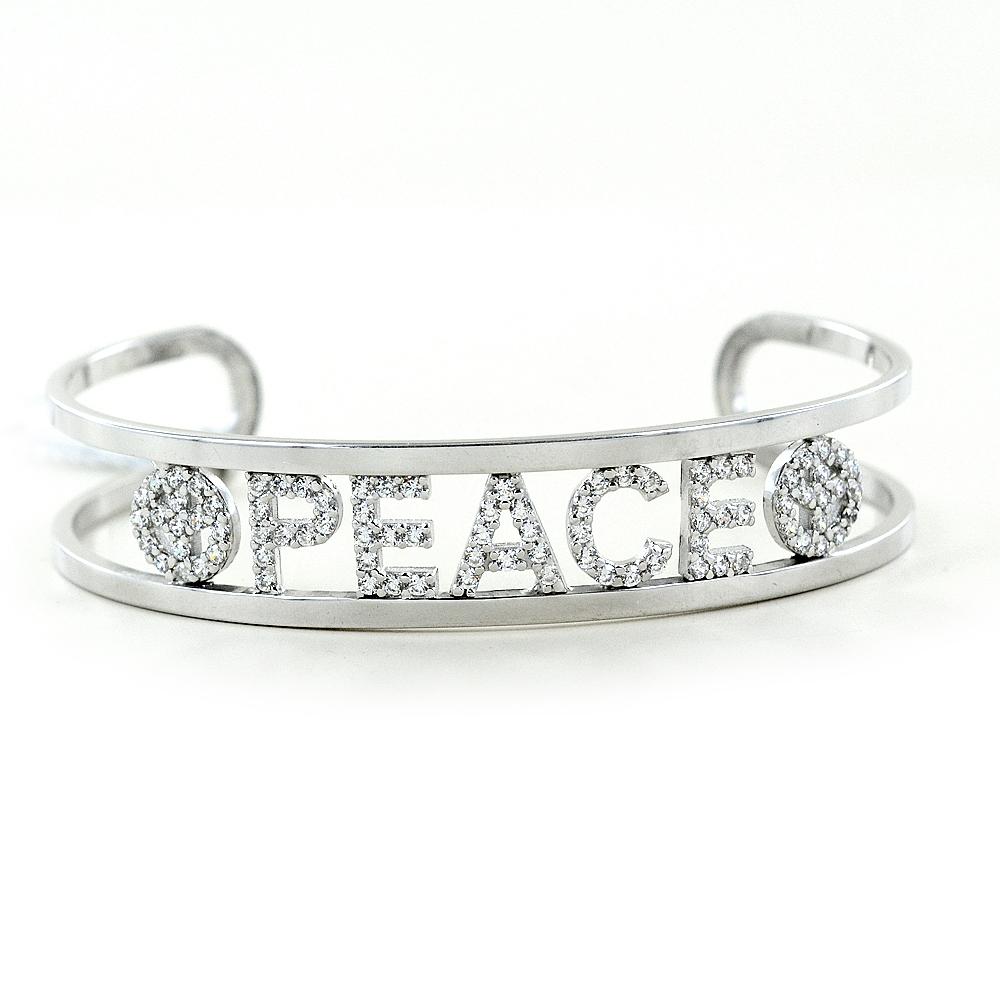 Bracciale rigido in argento a binario con scritta PEACE