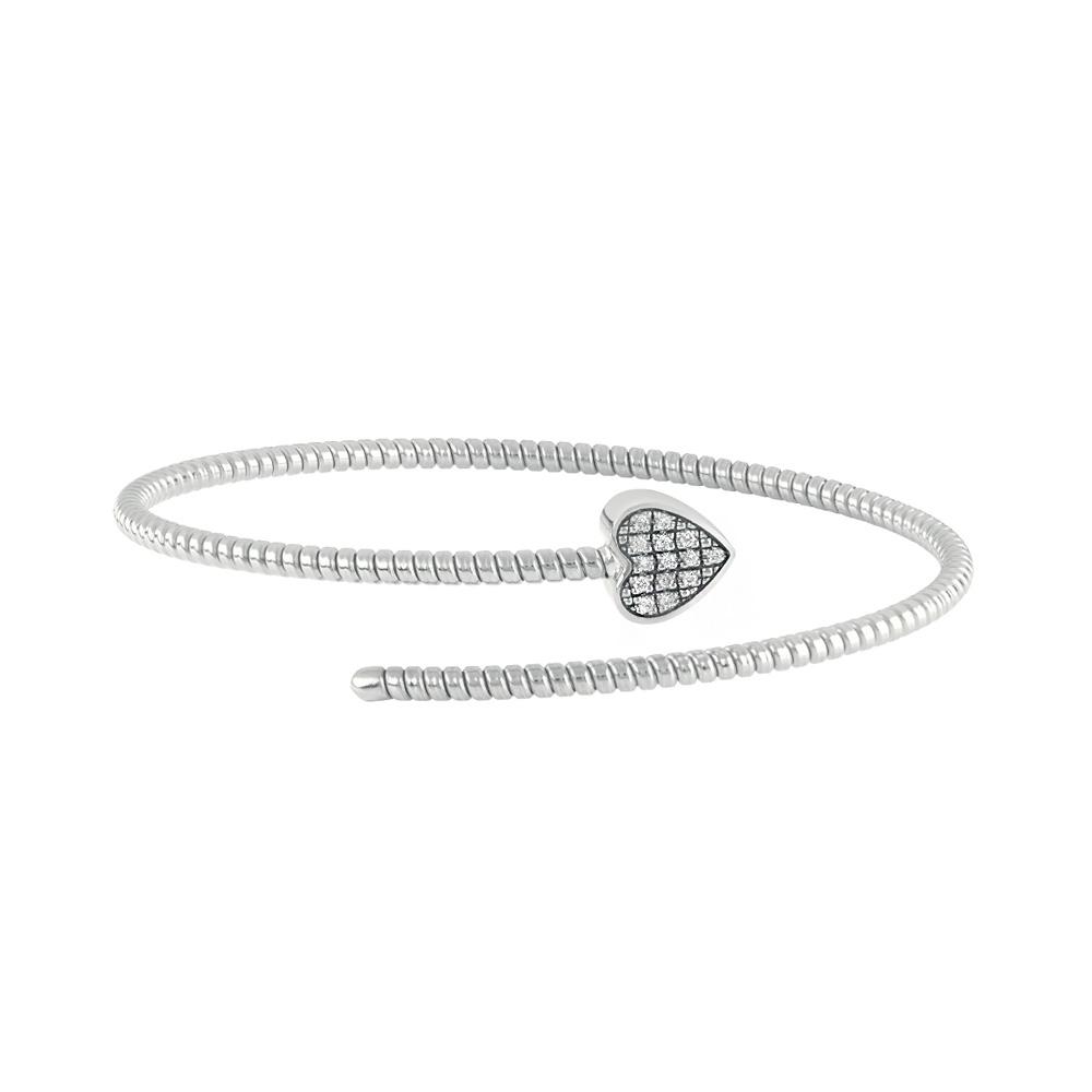 Bracciale Semirigido con cuore Salvini in oro bianco e diamanti MINIMAL POP 20084340