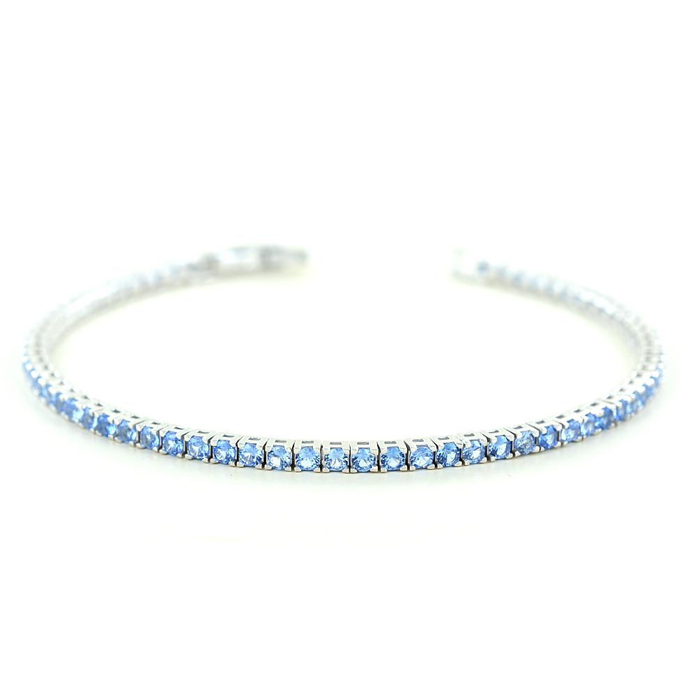 Bracciale tennis in argento e zirconi azzurri small 16 cm