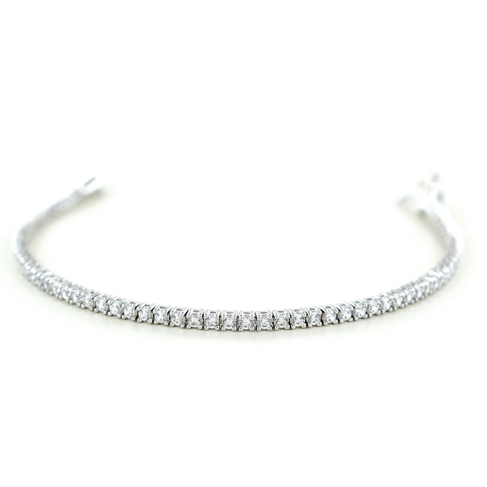 Bracciale tennis in argento e zirconi bianchi 16 cm sottile