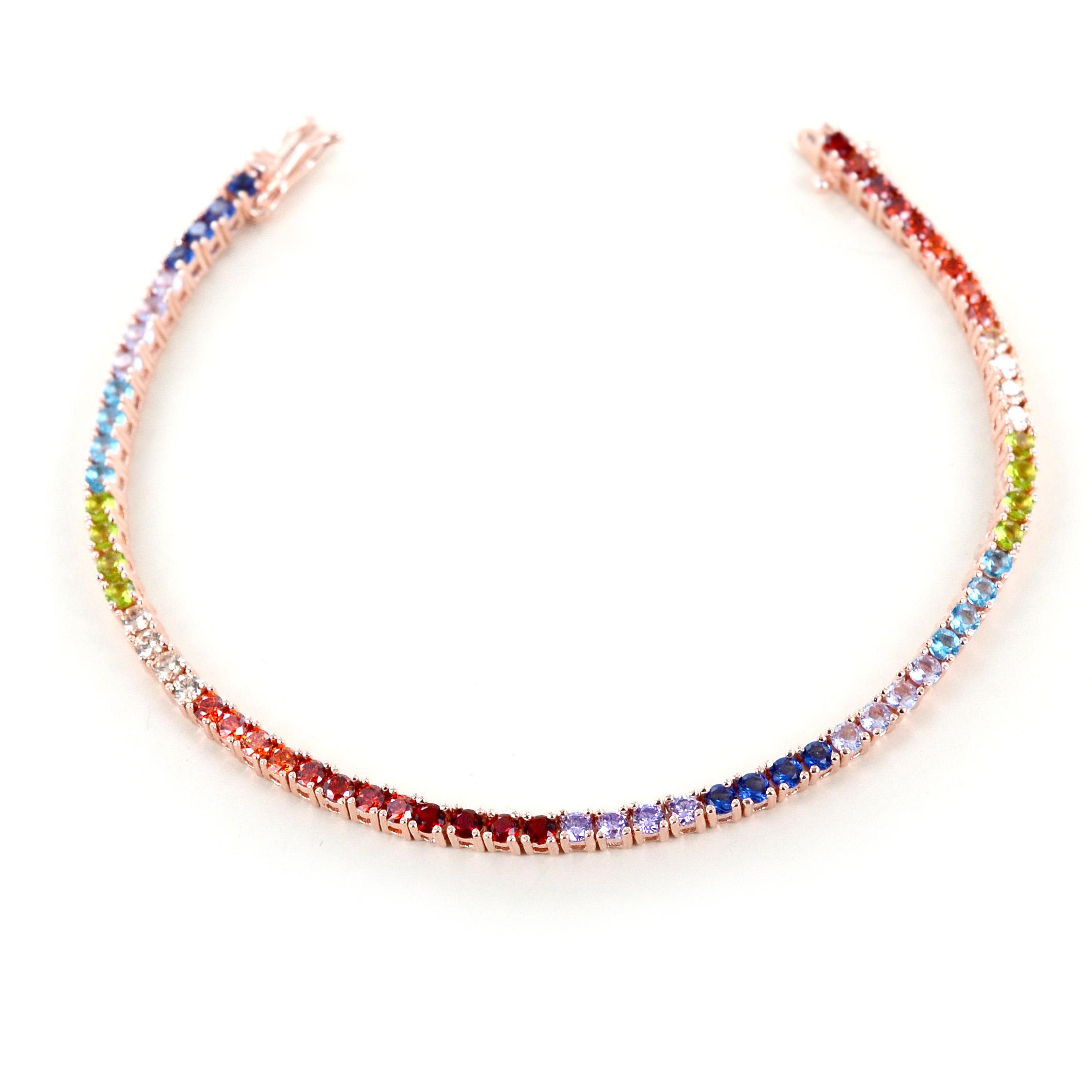 Bracciale tennis in argento e zirconi colorati - Tennis Rainbow medium
