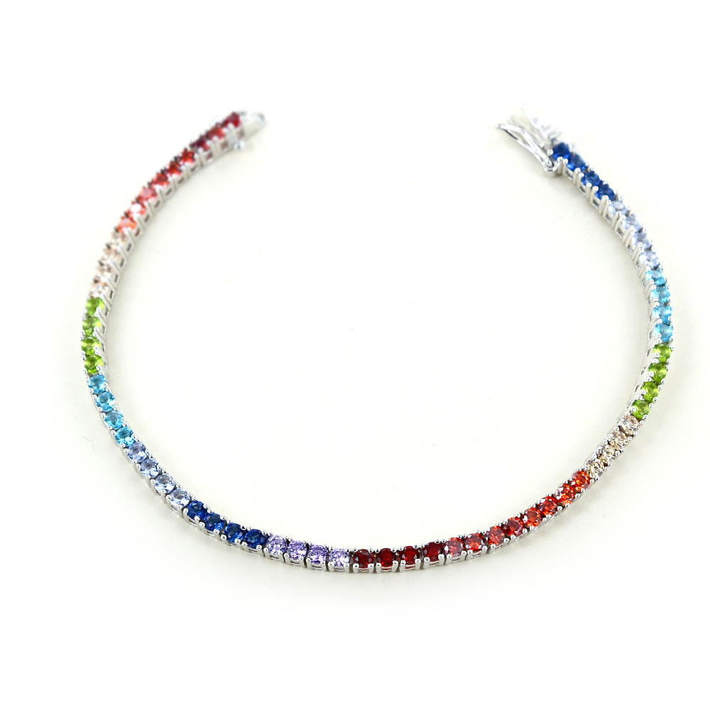 Bracciale tennis in argento e zirconi colorati - Tennis Rainbow