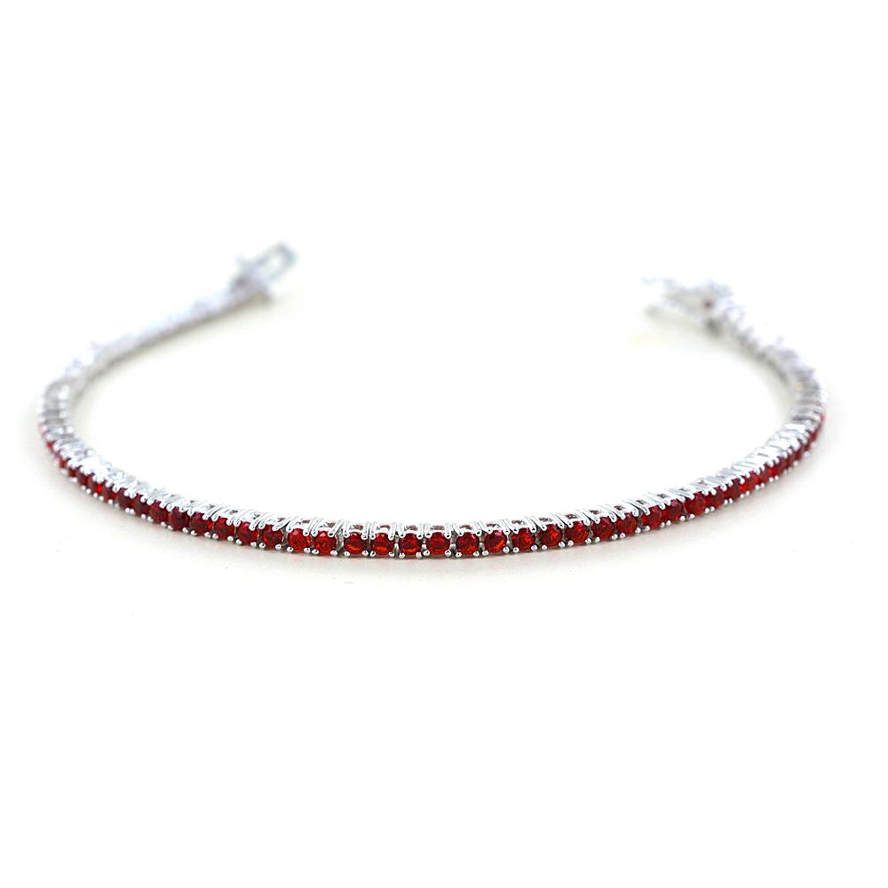 Bracciale tennis in argento e zirconi rossi 18 cm - 2.30 mm
