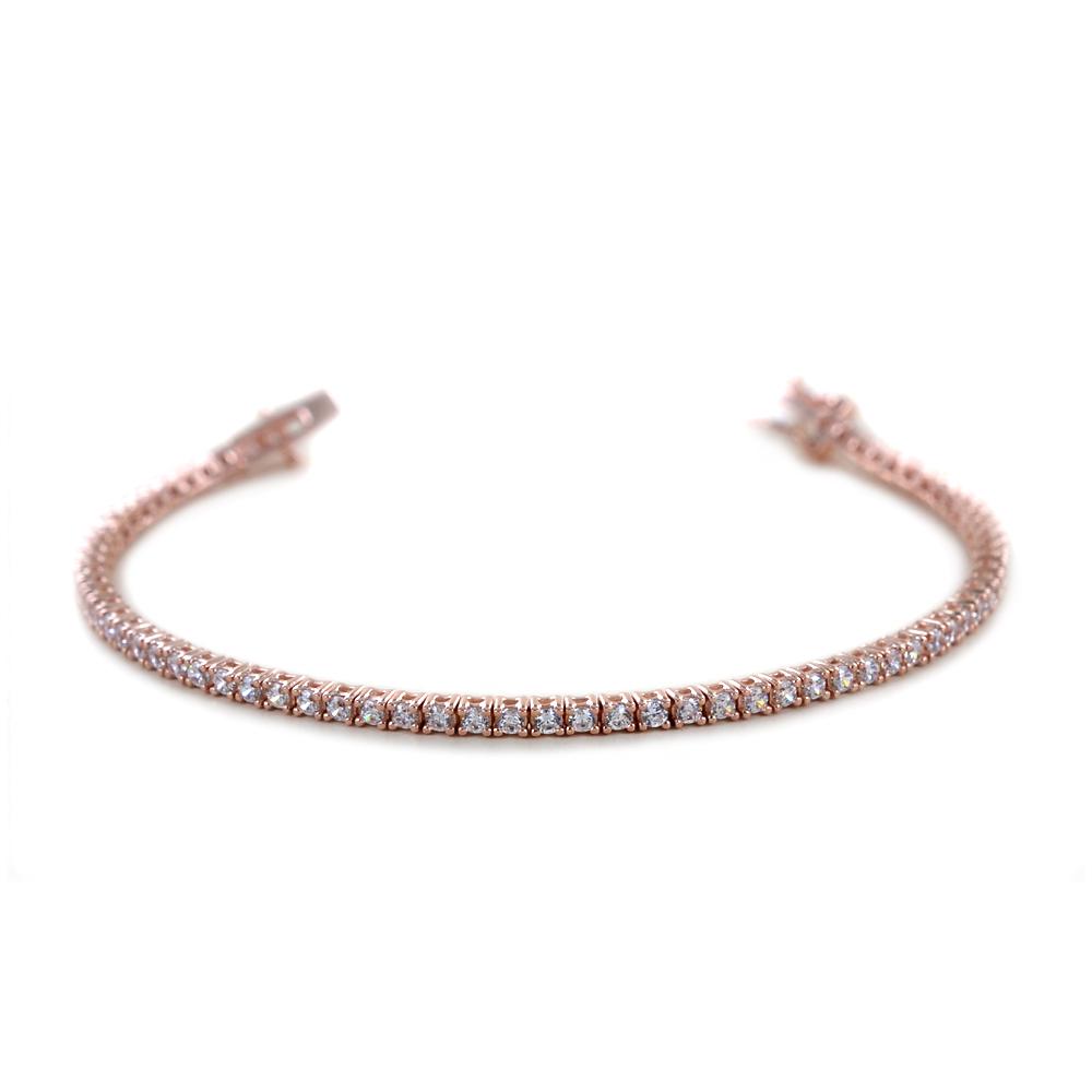 Bracciale tennis in argento rosato e zirconi bianchi 18 cm - 2.40 mm