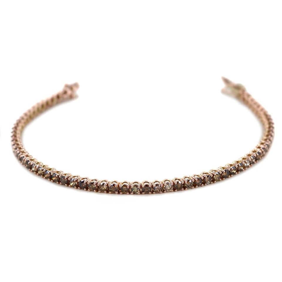 Bracciale Tennis in oro rosa con Diamanti Brown 4 carati