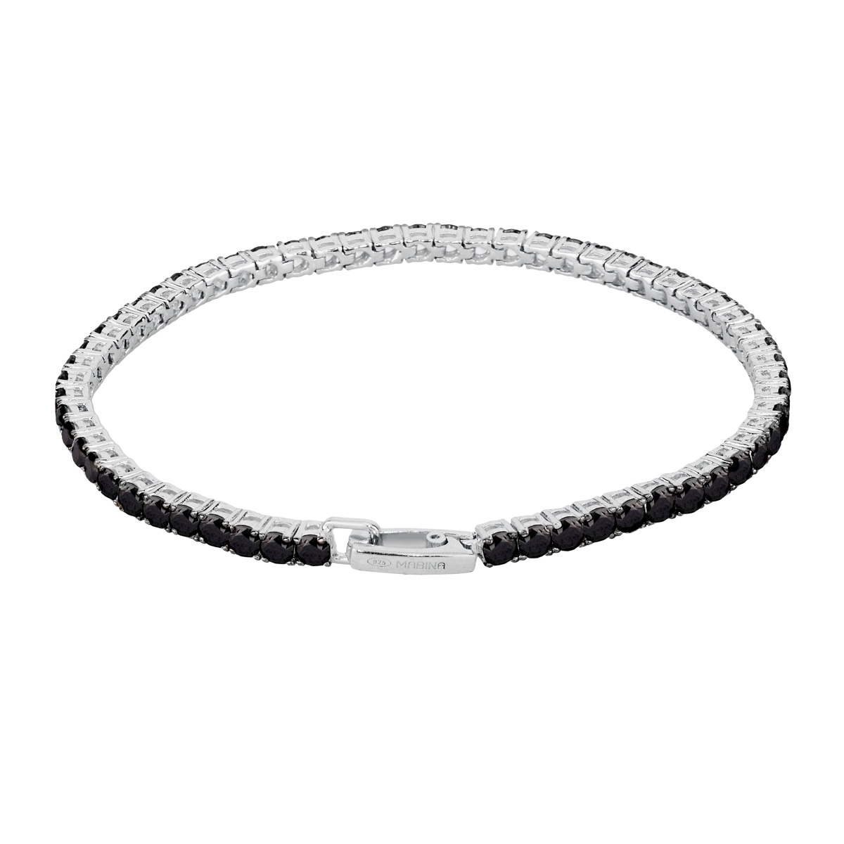 Bracciale tennis Mabina in argento con zirconi neri 533023