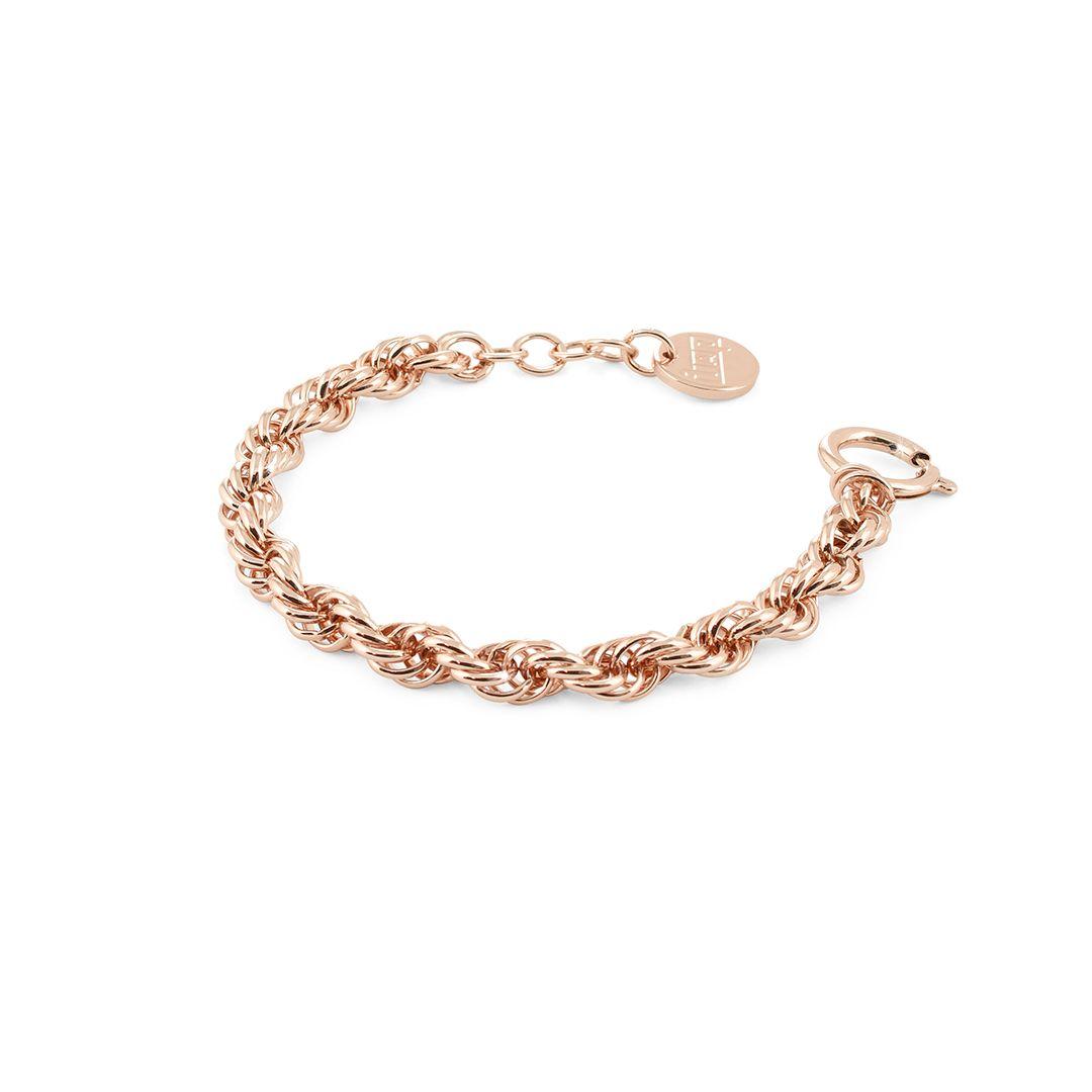 Bracciale Unoaerre in bronzo rosa con catena modello fune