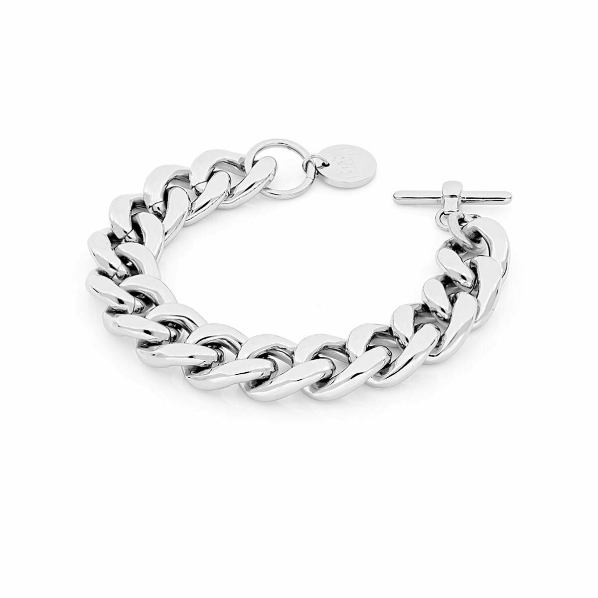 Bracciale Unoaerre in ottone silver catena groumette spessa