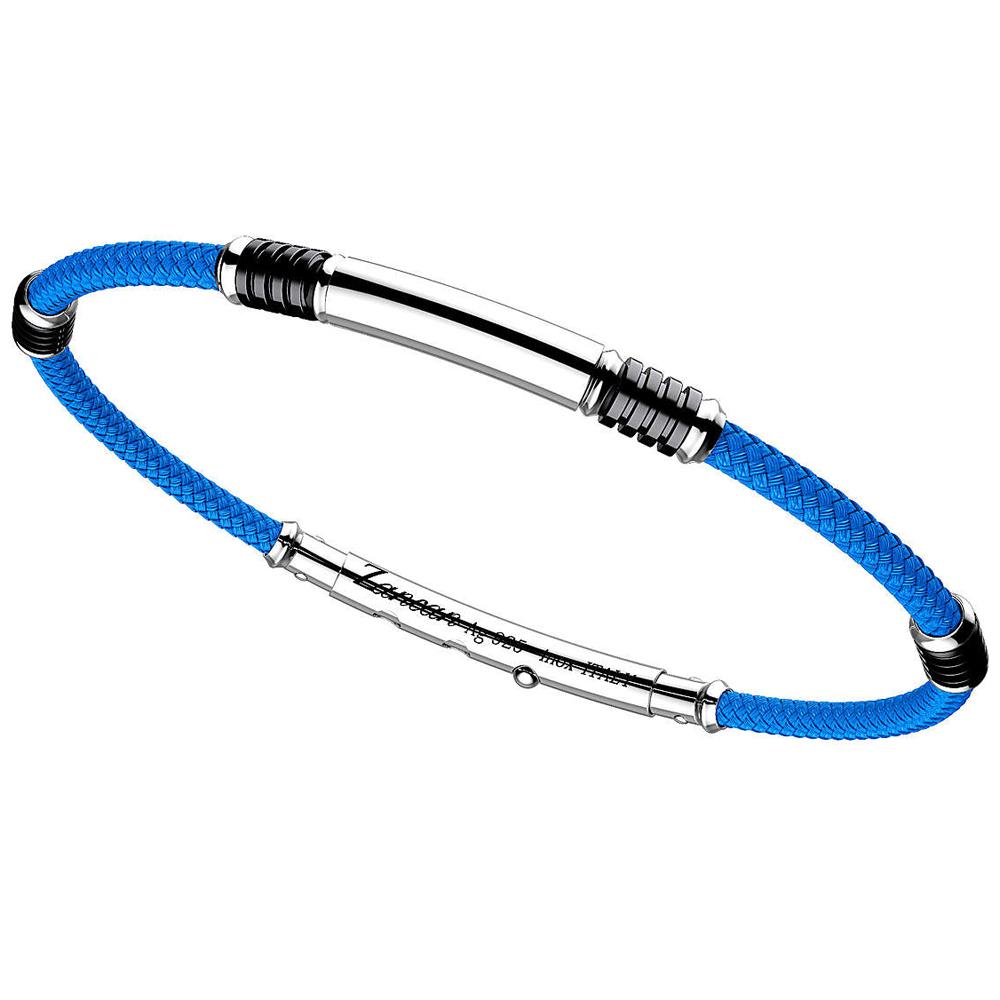 Bracciale Zancan da uomo in argento e kevlar Azzurro EXB576-AZ