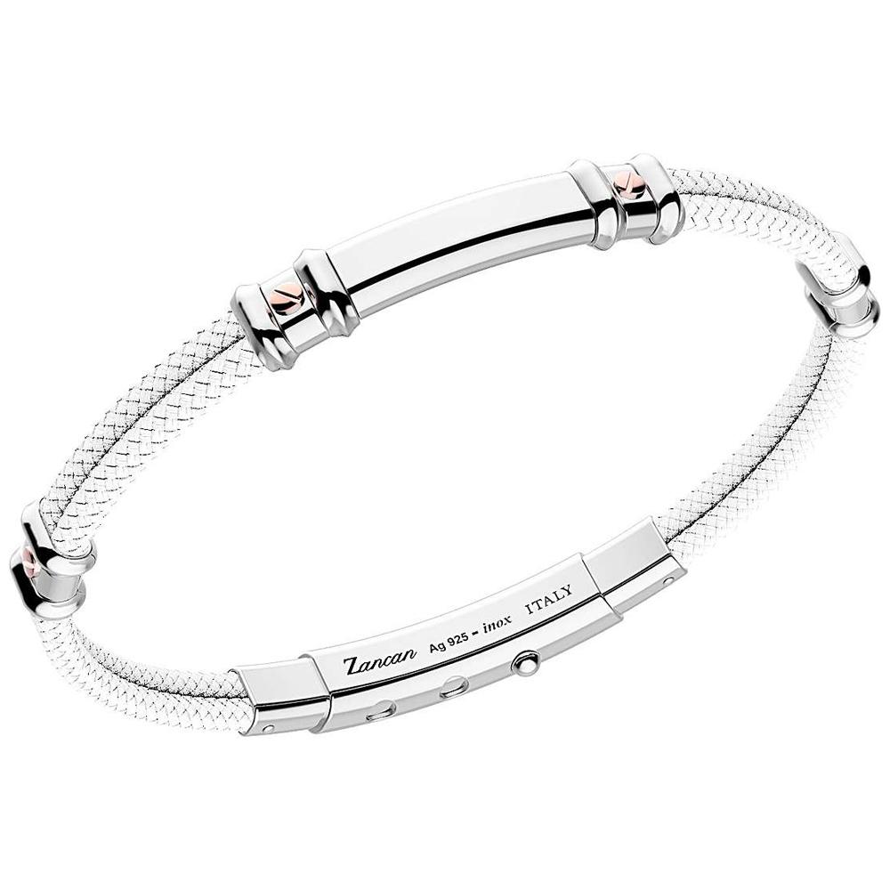 Bracciale Zancan da uomo in argento e kevlar Bianco EXB577R-BI
