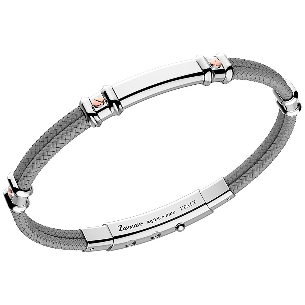 Bracciale Zancan da uomo in argento e kevlar grigio EXB577R-GR