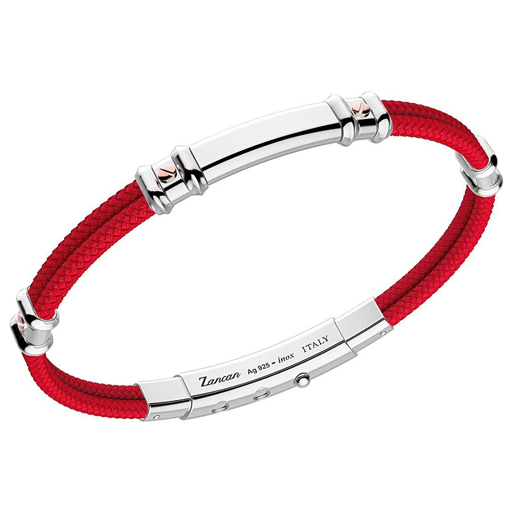 Bracciale Zancan da uomo in argento e kevlar rosso EXB577R-RO