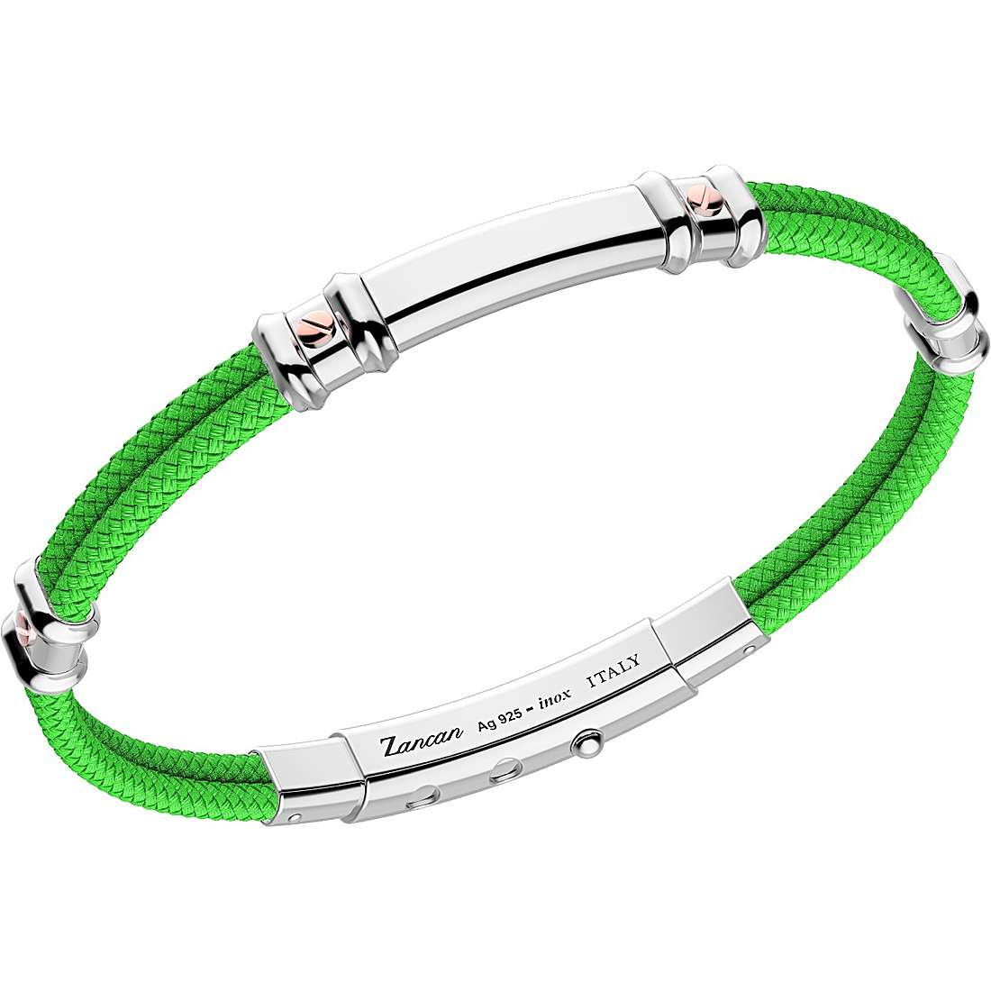 Bracciale Zancan da uomo in argento e kevlar Verde EXB577R-VE