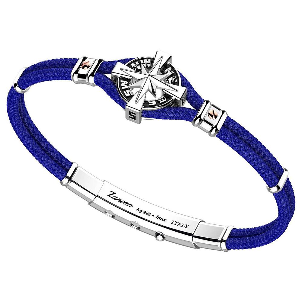 Bracciale Zancan Uomo in argento e corda nautica blu Regata Kompass EXB862R-BL