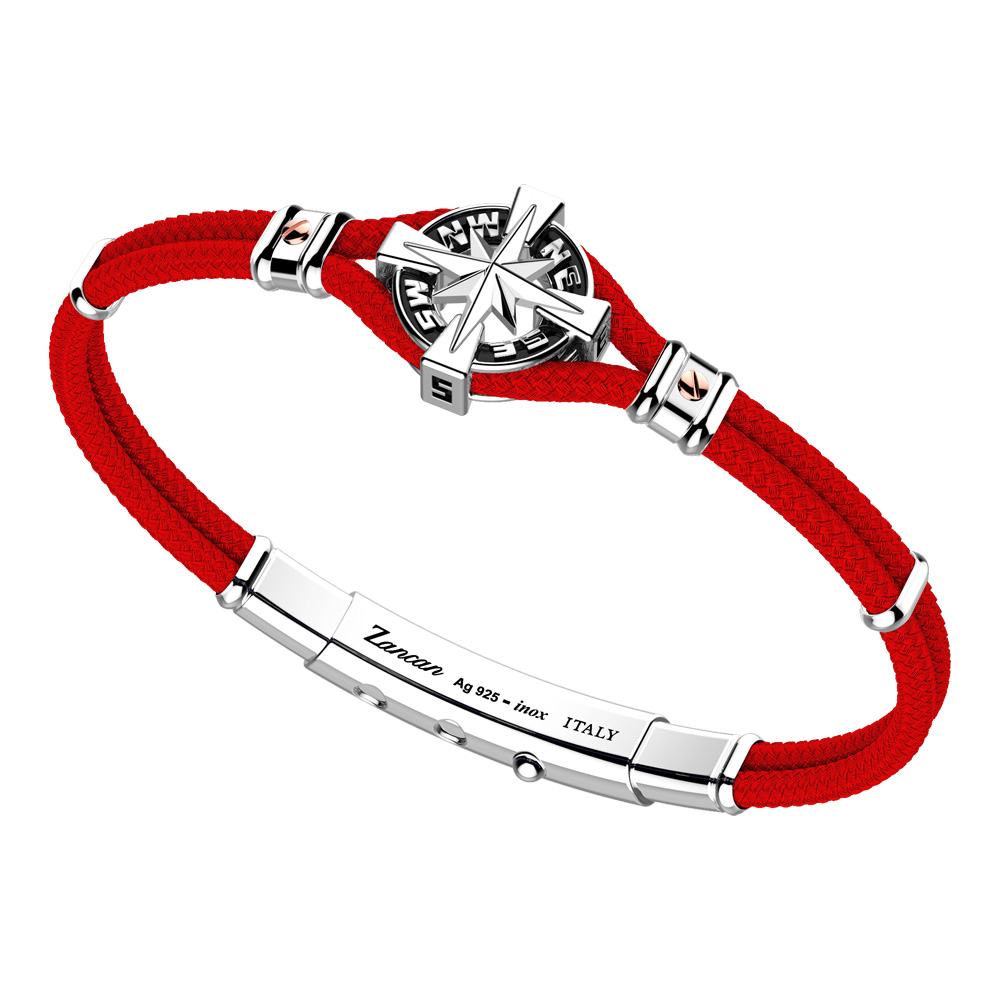 0d267405e39a17 Bracciale Zancan Uomo in argento e corda nautica Regata Kompass EXB862R-RO