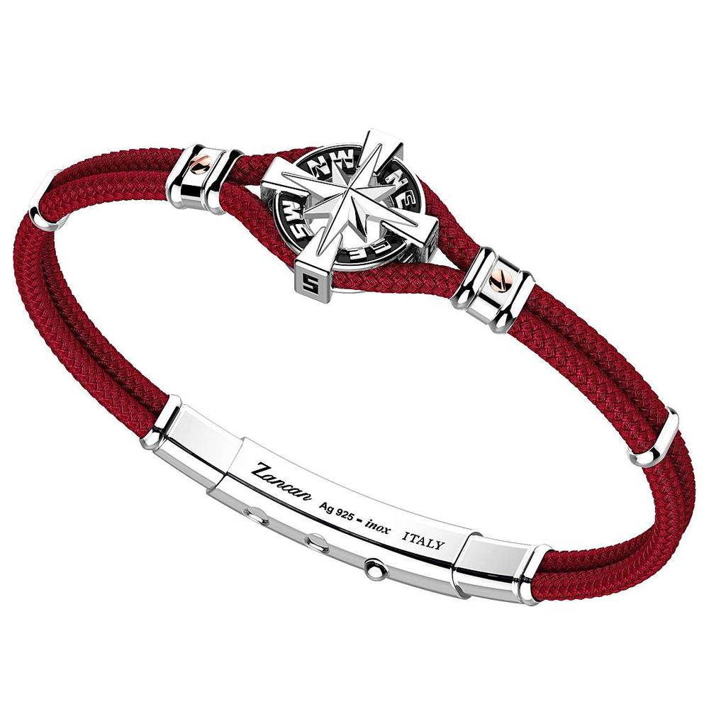 Bracciale Zancan Uomo in argento e corda nautica rosso rubino Regata Kompass EXB862R-RB