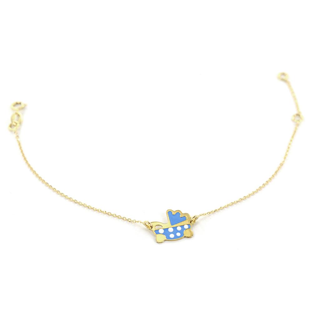 Braccialetto da bambino in oro con carrozzina con smalto blu