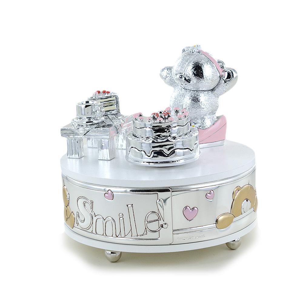 Carillon da bambina con orsetto argento e smalti rosa