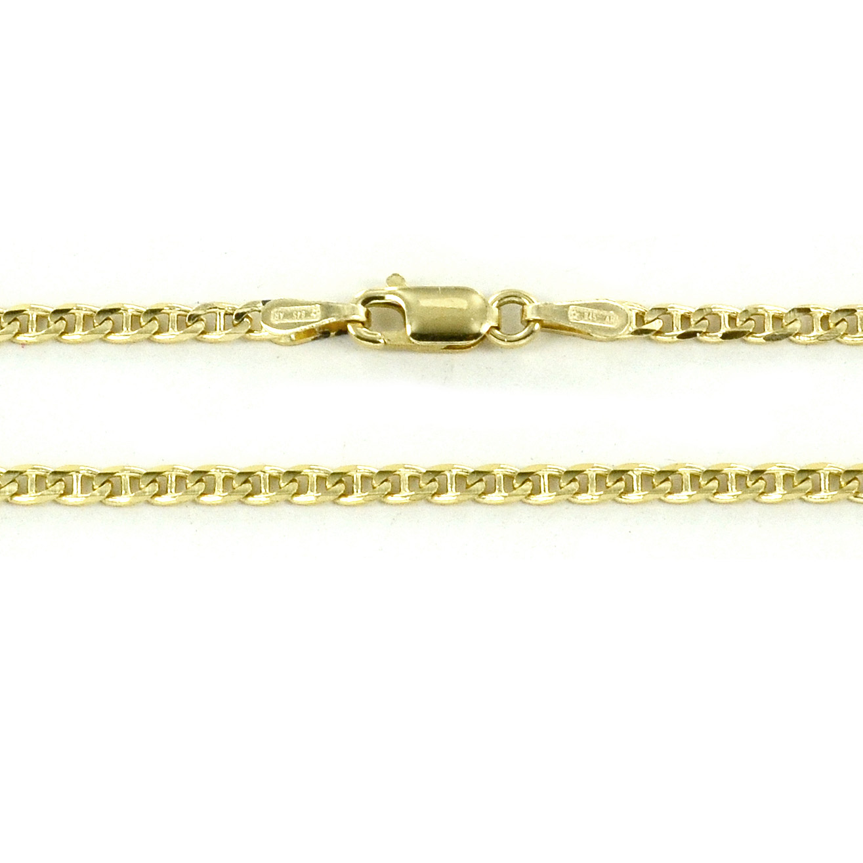 Catena da uomo in oro giallo 18 kt maglia traversino piena - 50 cm