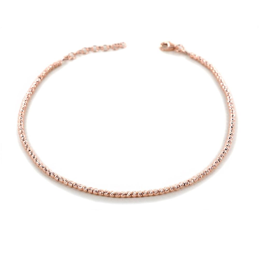 Cavigliera in argento a sfere piccole rosa sfaccettate diamantate