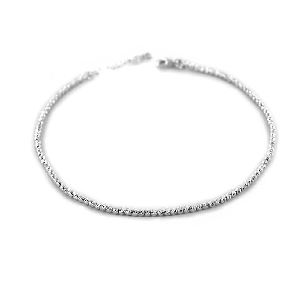 Cavigliera in argento a sfere piccole sfaccettate diamantate