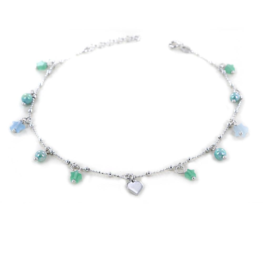 Cavigliera in argento charms stelle e cuore