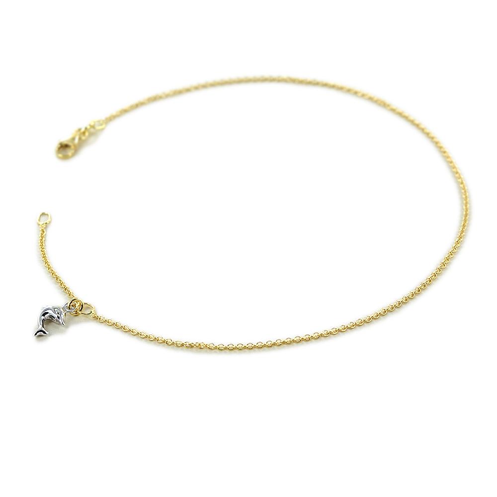Cavigliera in oro con ciondolo delfino in oro giallo e bianco