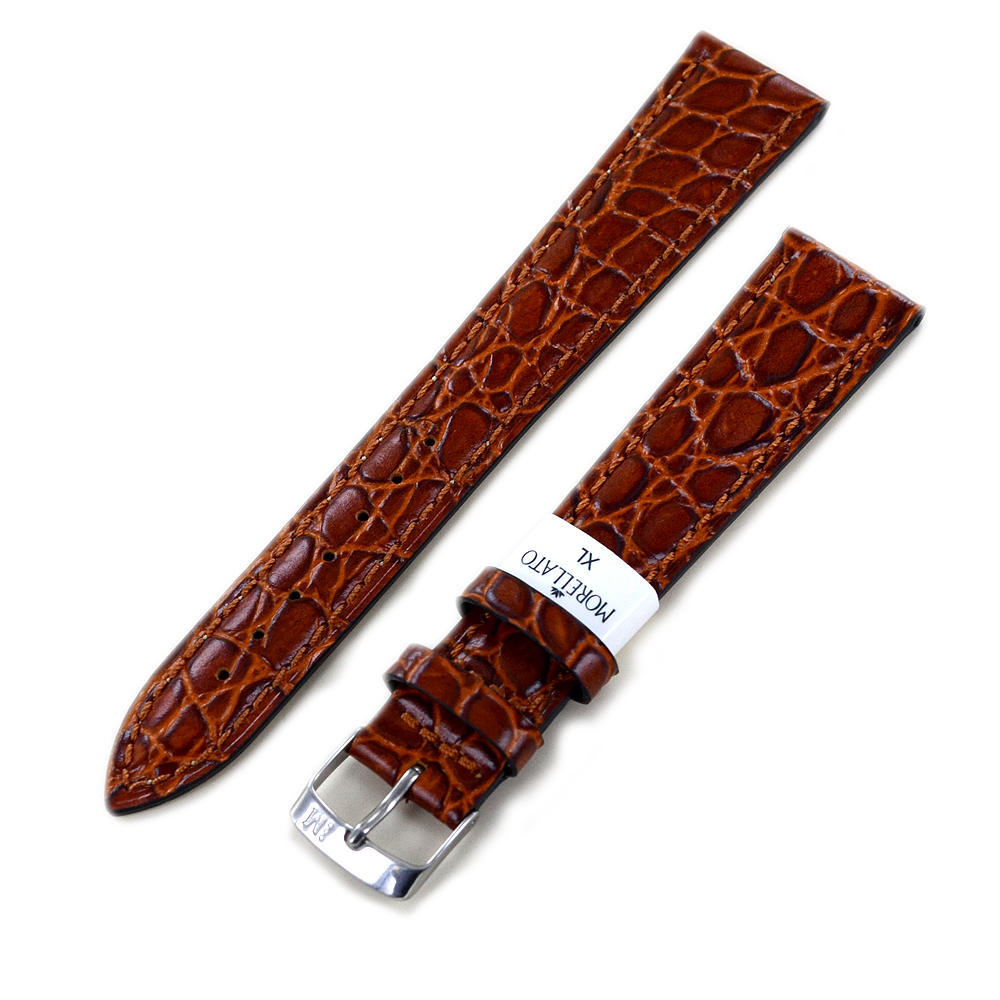 Cinturino extralungo stampa Coccodrillo Avana marrone ansa 20 mm XL