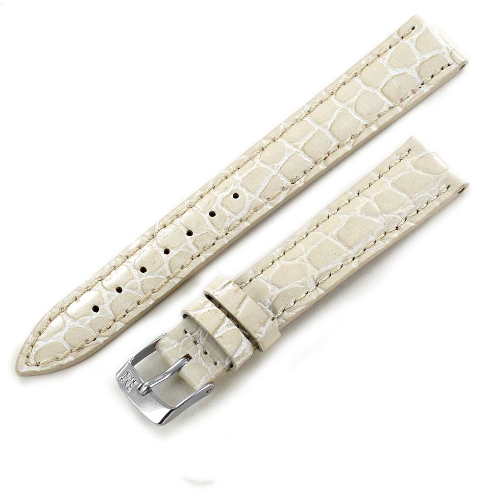 Dettagli su Cinturino per orologio guess originale vera pelle bianco stampa coccodrillo 16mm