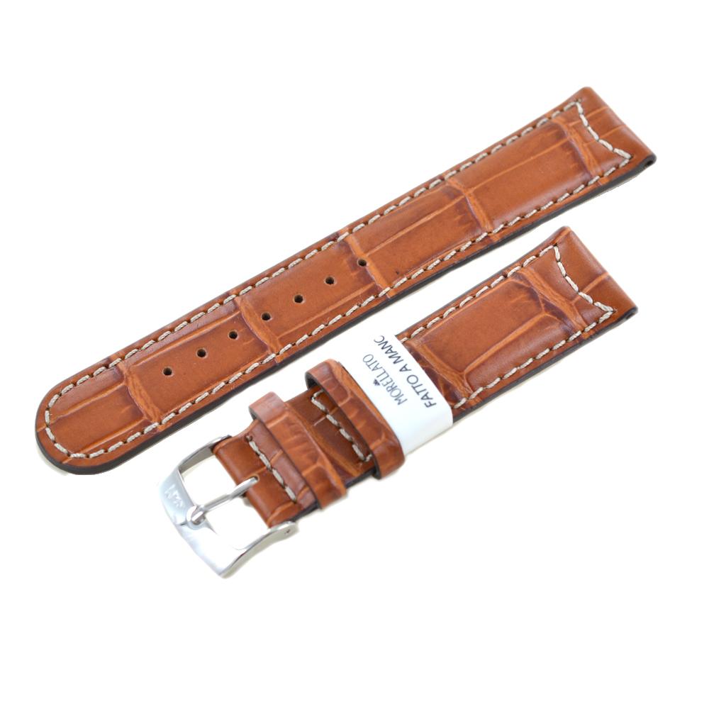 Cinturino stampa Alligatore gold marrone ansa 20mm