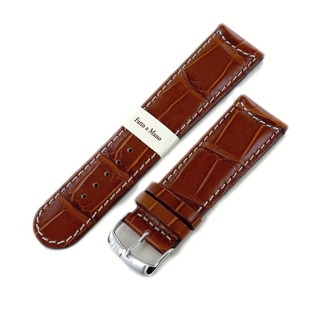Cinturino stampa Alligatore gold marrone ansa 24 mm