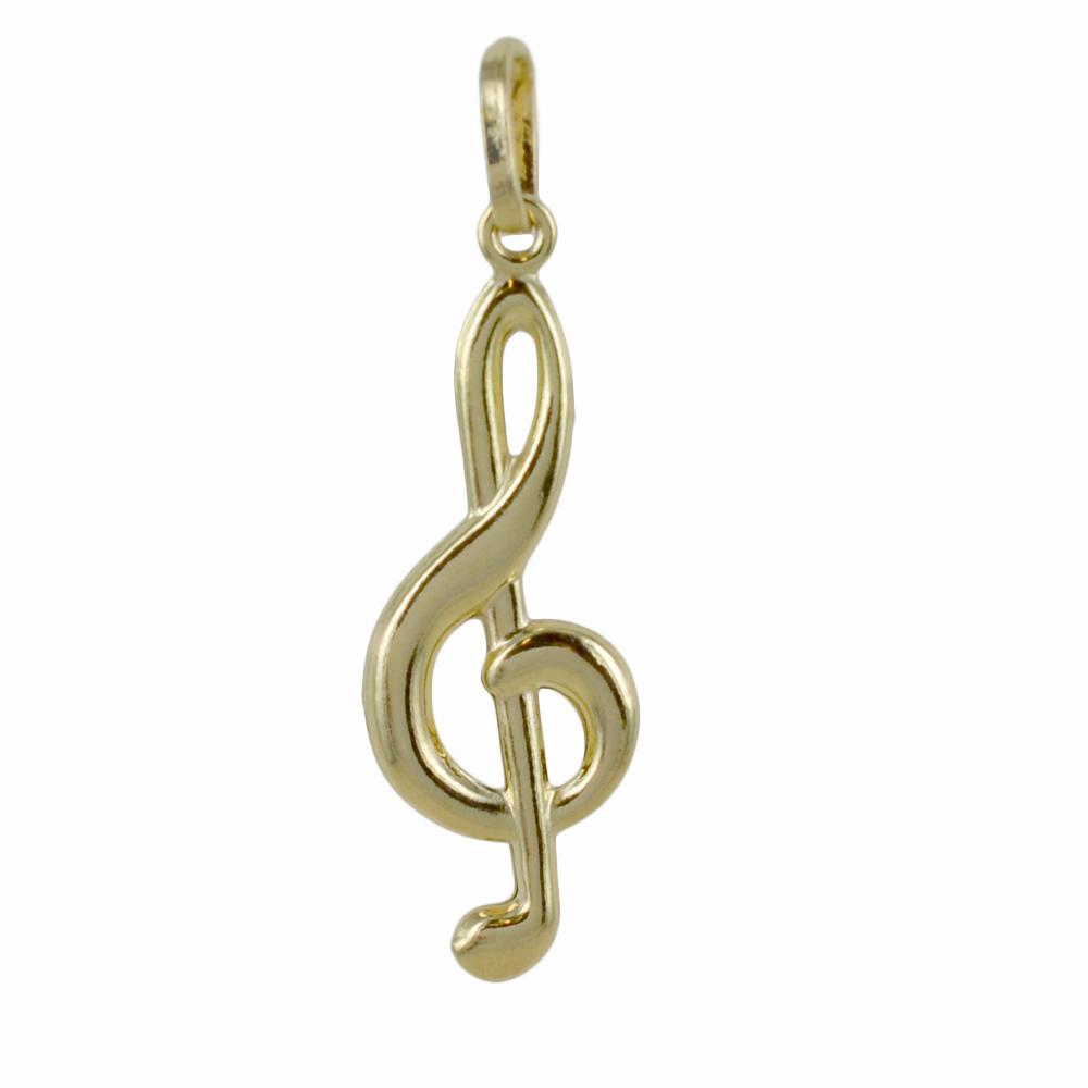 Ciondolo Chiave di violino musicale in oro giallo con collana