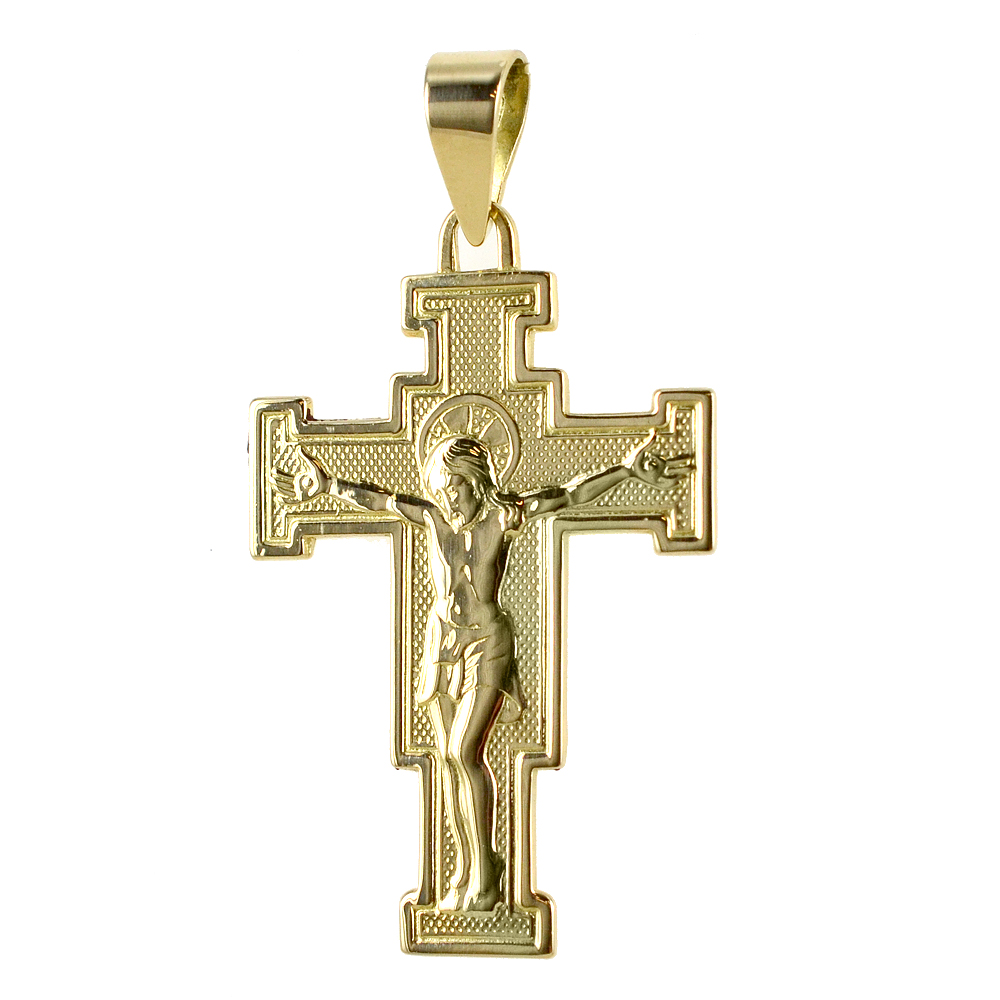 Ciondolo Croce del Cimabue grande in oro giallo con collana