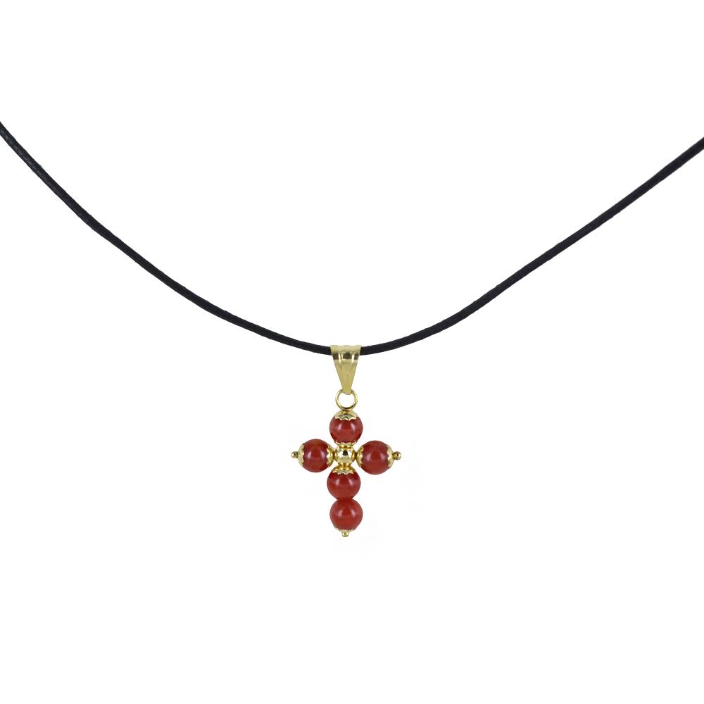 Ciondolo Croce Portafortuna in oro e corallo