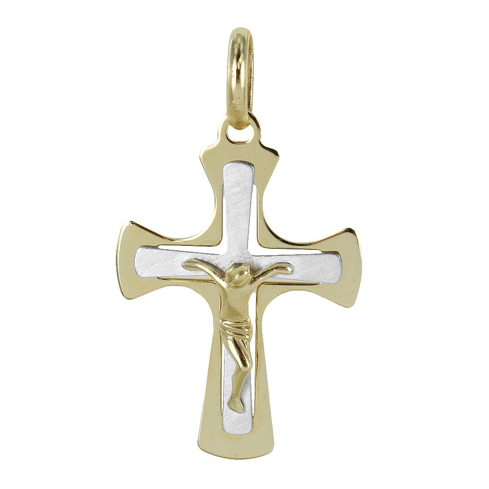Ciondolo Croce moderna Crocefisso in oro giallo e bianco