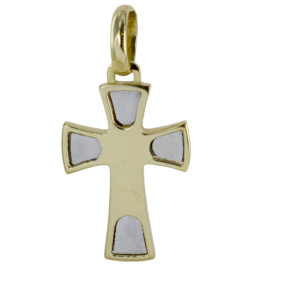 Ciondolo Croce moderna in oro giallo e bianco