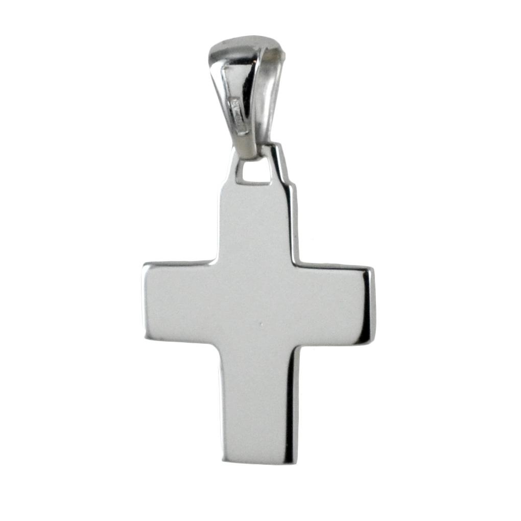 Ciondolo Croce piena stilizzata media in oro bianco
