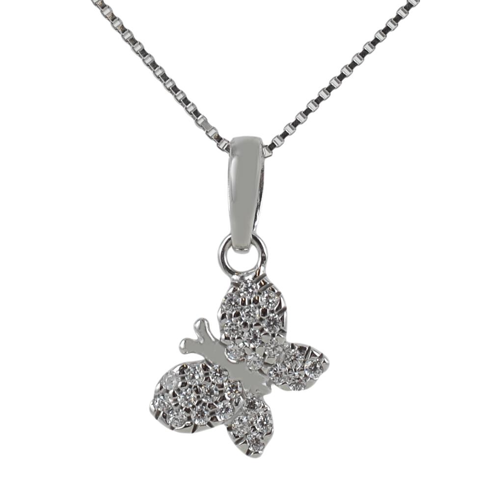 d45f24bb9b Ciondolo Farfalla in oro bianco e zirconi con collana in argento ...