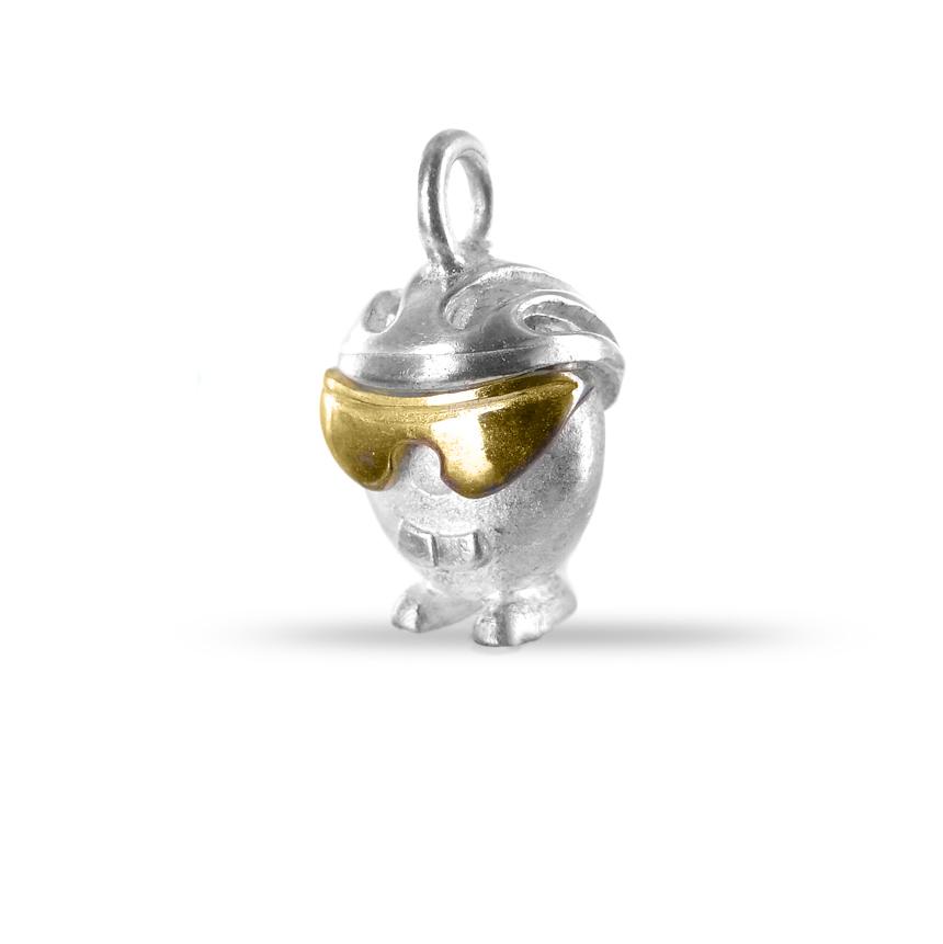 Ciondolo in argento e oro Pulci - Pulce Ciclista
