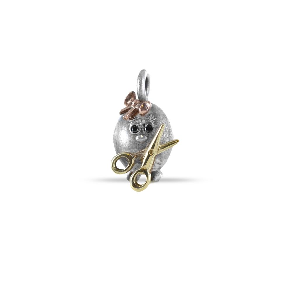Ciondolo in argento e oro Pulci - Pulce Sarta con diamanti