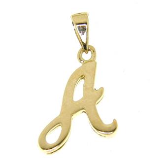 Ciondolo in oro giallo personalizzabile lettera alfabeto iniziale