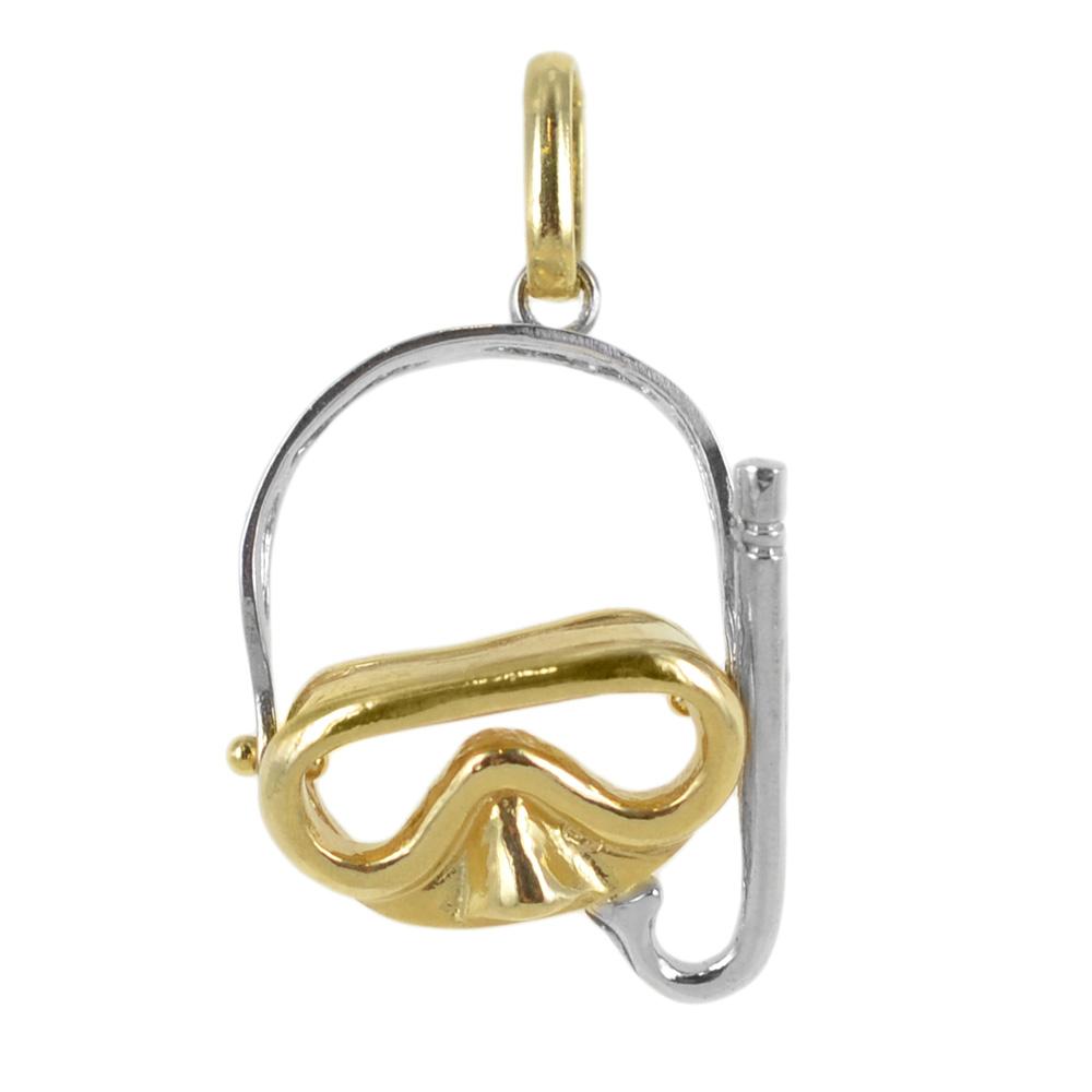 Ciondolo maschera e boccaglio in oro giallo e bianco con collana