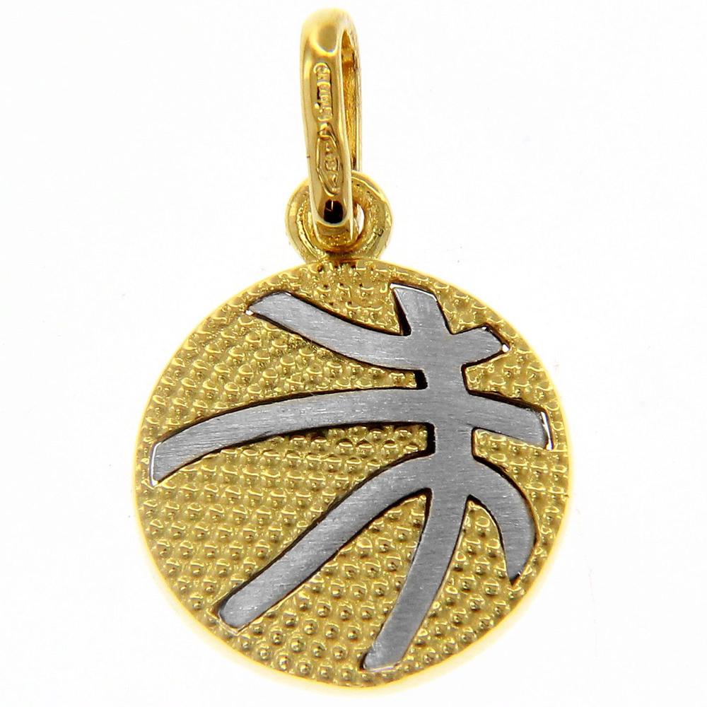 Ciondolo palla da basket in oro giallo e bianco con collana