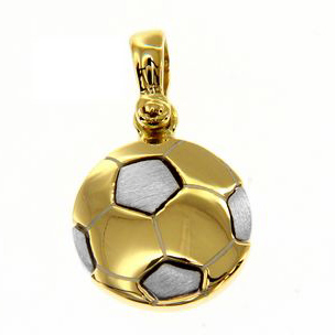 Ciondolo Palla da calcio in oro giallo e bianco con collana