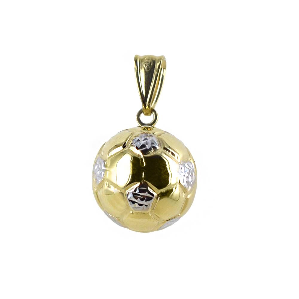 Ciondolo Palla da calcio sferica in oro giallo e bianco con collana