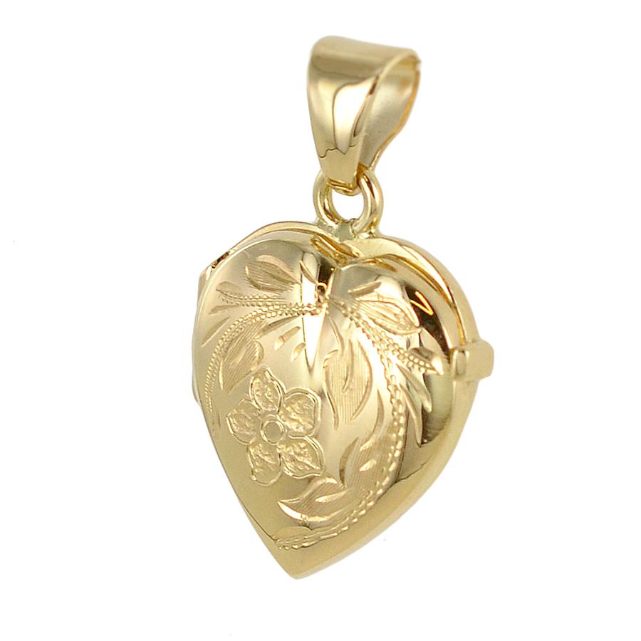Ciondolo porta ricordi a forma di cuore in oro giallo