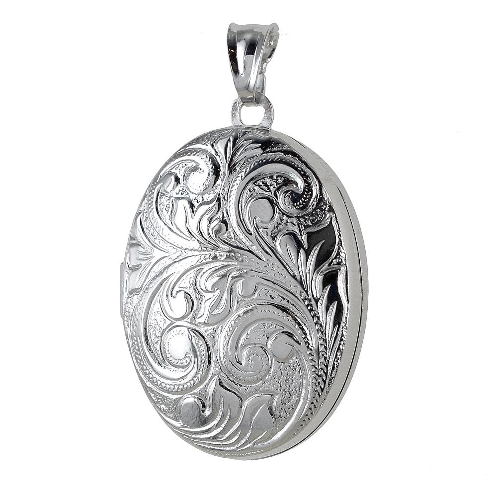 Ciondolo portaricordi ovale in argento portafoto