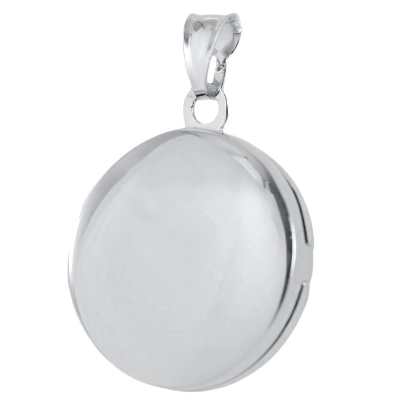 Ciondolo portaricordi rotondo in argento portafoto